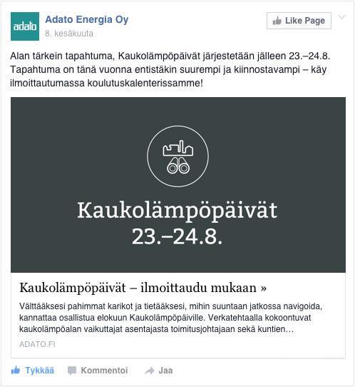 Facebook kampanja: Kaukolämpöpäivät