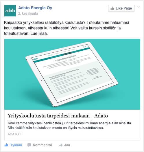 Facebook kampanja: Yrityskoulutukset