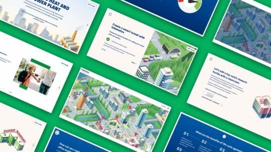 Caverion Smart City – Käsityönä kuvitettu interaktiivinen kaupunki osallistaa käyttäjän ja näyttää samalla, miten lähitulevaisuuden älykaupunki rakentuu